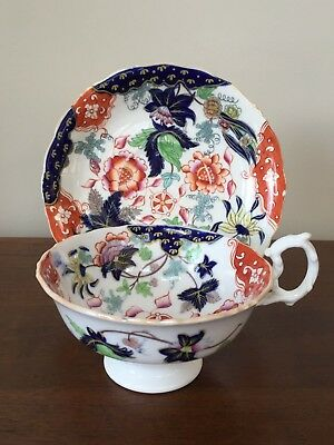 Antique English Hand-Painted IMARI Breakfast Cup & Saucer Set