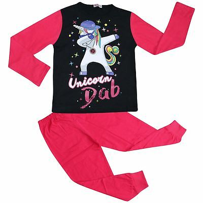 Kids Girls Designer Unicorn Dab Floss Pink Pyjamas Loungewear Nightwear PJS 5-13