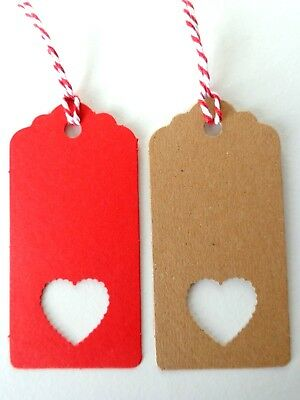 Pack of 10 Gift Tags Heart Cut-Out Hand-made Kraft Card Labels 9x4.5cm with Ties