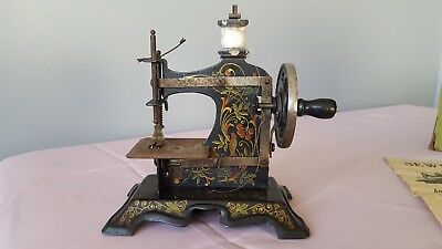 Vintage Miniature Childs Sewing Machine 'Birds and Berries' Germany (Boxed)