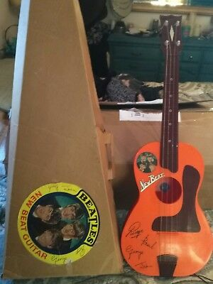 Vintage 1960's Beatles New Beat Toy Guitar by SELCOL Made in England w Box Rare!