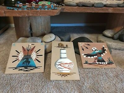 Vintage Native American Navajo Sand Painting Collection Signed Lee