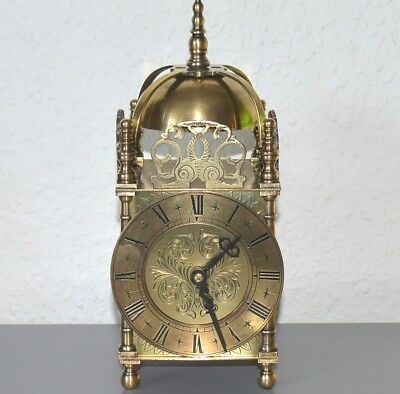 Vintage 8 Day lantern clock. Brass. Restored. Working.Smiths movement - 4 jewels