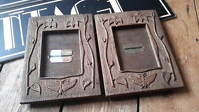 Pair Vintage Antique Wooden Scottish Arts And Crafts Photo Picture Frame