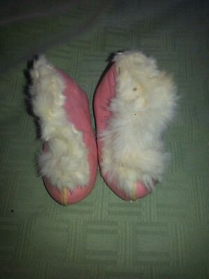 Vintage Antique Childrens Pink Leather shoes slippers with fur lining