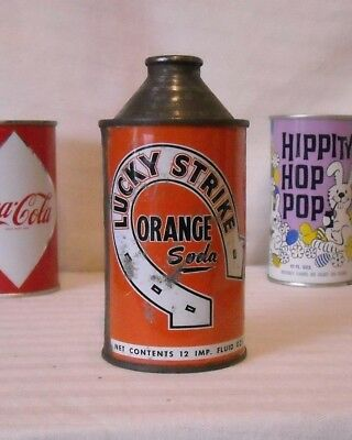Vintage Lucky Strike Orange Soda Cone Top Pop Can