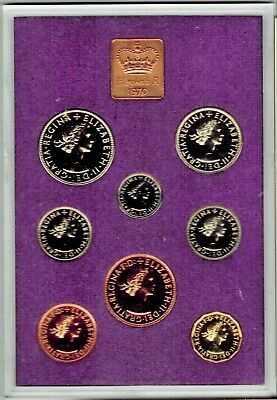1970 GREAT BRITAIN & IRELAND PROOF COIN SET 8 Coins 1/2d to 1/2 Crown w/Box CoA