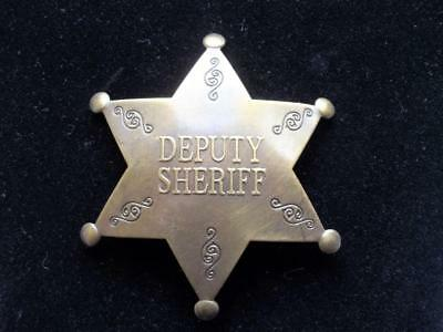 Solid Brass Deputy Sheriff Star Badge Embossed Letters Pin Old West Law Police
