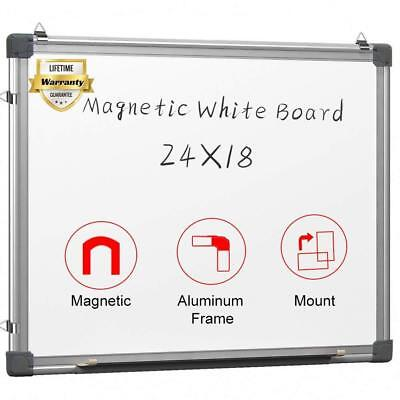 Magnetic White Board 24 x 18 Dry Erase Wall Hanging Whiteboard