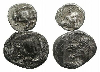 Lot of 2 Silver coins of Kyzikos, Mysia. After 480 BC. Rare and lovely pieces!