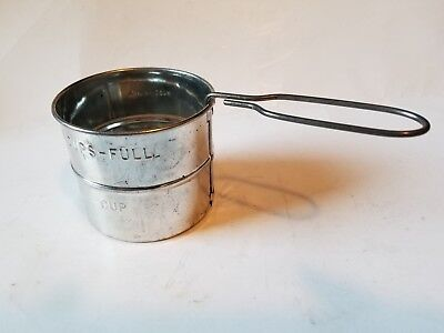 Vintage 2 Cup Tin Dry Ingredients Sifter w/Swivel Handle