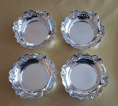 4 x HEAVY VINERS STERLING SILVER BON BON DISHES 1952 280g Emile Viner