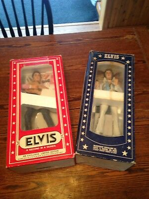Two 1977 McCormick Elvis Presley Decanter w/ Music Box Base From Estate