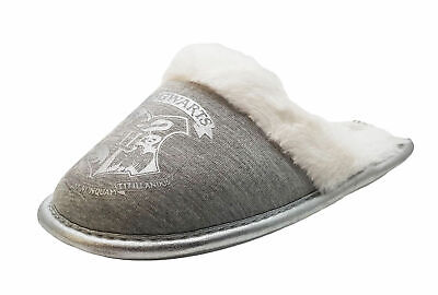 Girls Harry Potter Hogwarts Silver Grey Mule Slippers - With Warm Lining