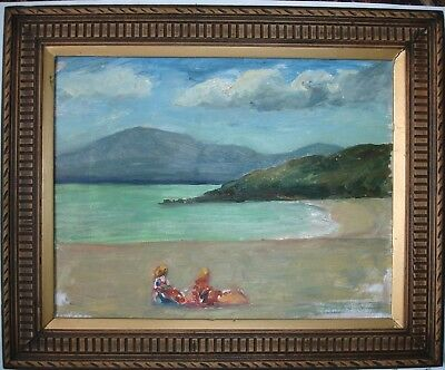 VINTAGE OIL PAINTING of  BEACH SCENE with figures FRAMED