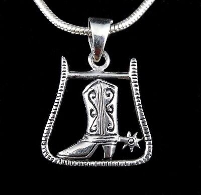 Handcrafted Solid 925 Sterling Silver Southwest COWBOY BOOT and Spurs Pendant