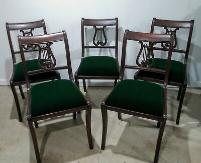 Excellent 5 Antique Harp Lyre Back Dining Chairs Early 1900S Grand Ncnpc Chair Design For Home Ncnpcorg