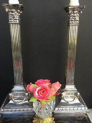Antique 18th Century English Silver Plate Candlesticks