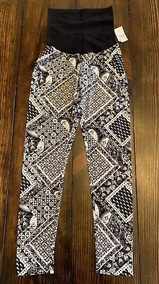 NWT Motherhood Maternity Secret Fit Belly Leggings Black White Print Medium