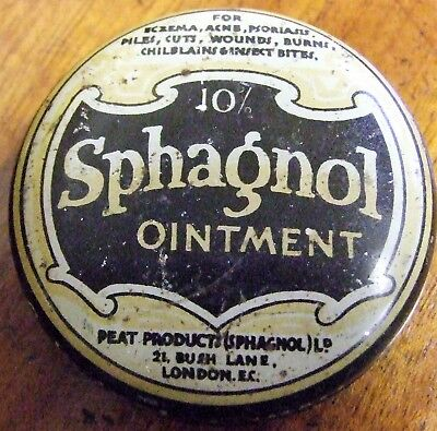 Vintage 10% Sphagnol Ointment tin by Peat Products London..
