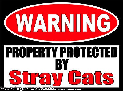 """Stray Cats Funny Warning Sign Stickers Set of 2 Decals 4"""" wide WS373"""