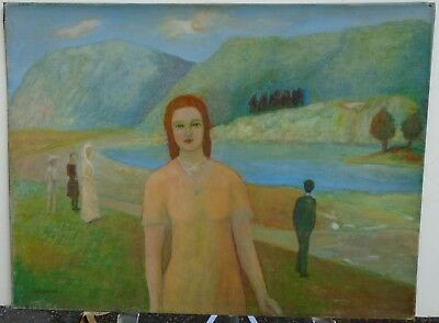 Woman in a Dream Landscape with Lake & Mts-Surreal Oil Painting-1940s-Gar Sparks