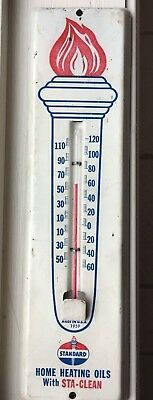Vintage Standard Oil Metal Outdoor Thermometer Fahrenheit Scale Made in USA 1959