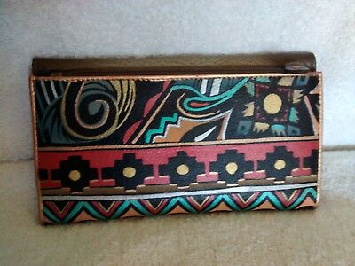 Anuschka Hand Painted Leather Tri-Fold Wallet, Antique Aztec