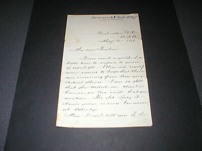 1877 Washington DC, Hand written Letter, 4 pages, with Indent Monogram