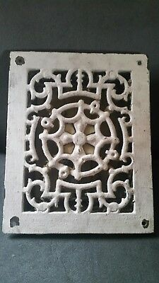 Antique Cast Iron Heat Grate Floor Vent Register. Vintage. 9 3/4 x 7 3/4""