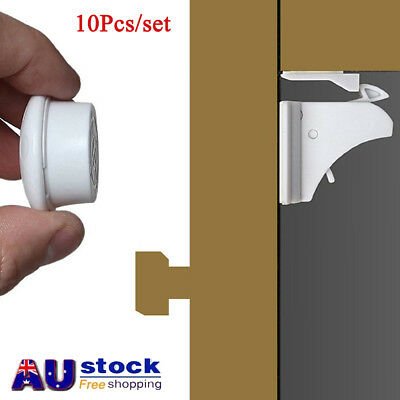AU Invisible Magnetic Cabinet Drawer Cupboard Lock For Baby Kids Safety X10/50PC