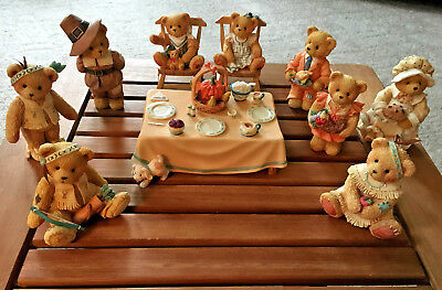 Lot of Enesco Cherished Teddies Family Thanksgiving We Bear Thanks & Others