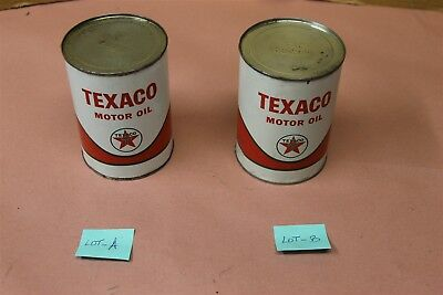Texaco Motor Oil Vintage Quart Oil Can Sealed dated 1/63 (( SELECT 1- PER LOT ))