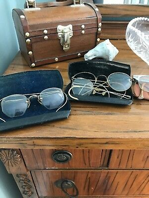 Lot Of 7 Pairs Vintage Antique Eyeglasses With 6 Cases Some Gold Rimmed