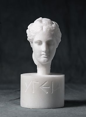 MARBLE bust of Hygeia carved Greek marble statue figurine artist sculpture
