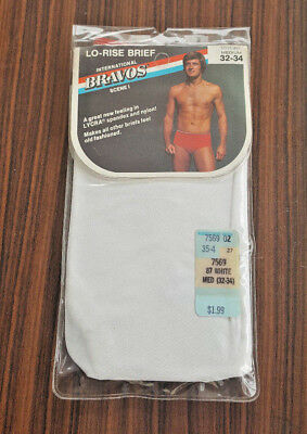 VTG Mens International Bravos Scene I Lo-Rise Brief Underwear Medium NEW white