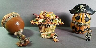 Set of 3 Autumn Boyds Bears Treasure Box's !! In EXCELLENT CONDITION!