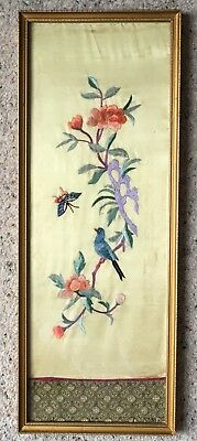 """Vintage Finely Embroidered Japanese Silk Panel """"Peach Blossom, Butterfly & Bird"""""""