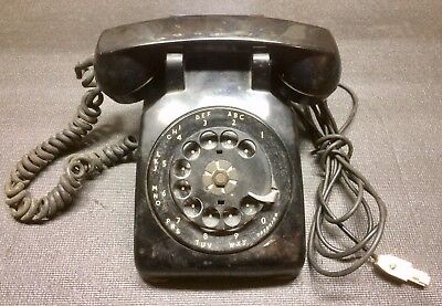 Vintage 1953 Bell Systems By Western Electric Black Rotary Desk Phone C/D 500