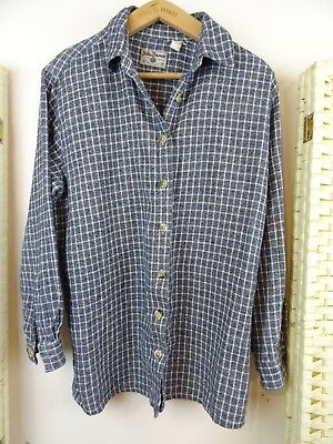 LADIES  cotton? brushed soft blue/grey/white checked  shirt/blouse/top  M