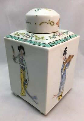 A Antique Chinese Famille Rose Porcelain Tea Caddy Box circa 1880-1920 Figures