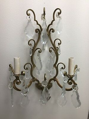 Antique Vintage French cut Crystal Brass Louis XV Versailles Wall Sconce 2-lite