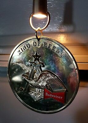 Budweiser Lighted Hanging Coin Medallion Anheuser Busch King of Beers