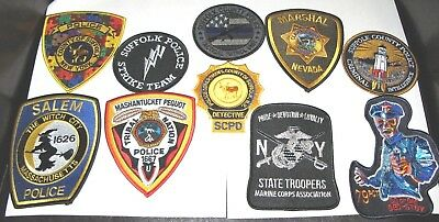 Lot Of Ten Police Nyc Suffolk  New York State Usmc 79 Witch Marshal Strike Patch