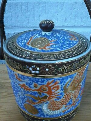 Japanese Biscuit Barrel. Hand Painted. Dragon Design. Lovely Colours & Condition