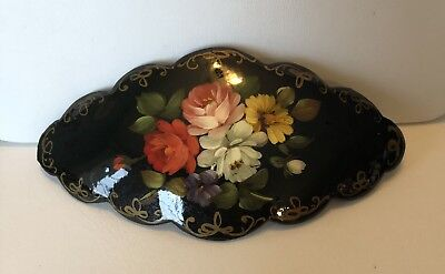 Vintage Hand Painted Signed Russian Lacquerware Scalloped Hair Barrette Clip