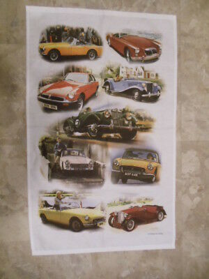 "Mg Automobile ""vintage Ad Gallery""  Cotton Cloth Banner 18"" By 30"" Made In Uk"