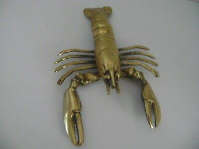 """Vintage Solid Brass Lobster Figurine 10"""" Total Length 7 7 6/* Body Lacquered VGC"""