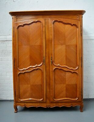 French Provincial Antique Style Louis Large 2 door Armoire / Wardrobe Merisier