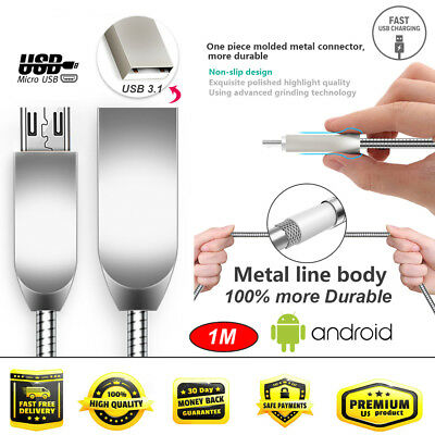 Micro USB Cable Android phone tablet Metal Fast Charging Data Cable Adapter LOT